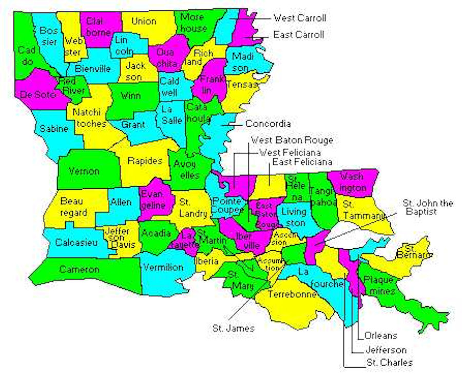 Maps - Louisiana map with parishes